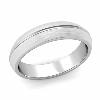 Carved Comfort Fit Wedding Ring in Platinum Matte Brushed Band, 5mm