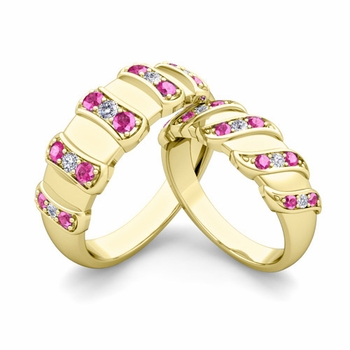 Matching Wedding Band in 18k Gold Twisted Diamond Pink Sapphire Wedding Rings