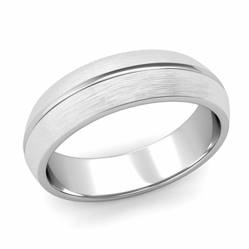 Carved Comfort Fit Wedding Ring in Platinum Matte Brushed Band, 6mm