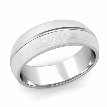 Carved Comfort Fit Wedding Ring in Platinum Matte Brushed Band, 7mm