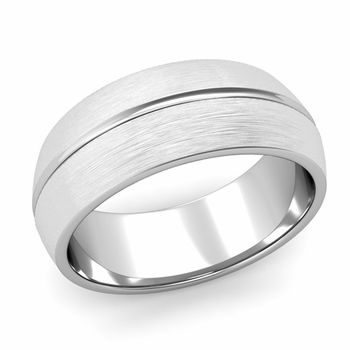 Carved Comfort Fit Wedding Ring in Platinum Matte Brushed Band, 8mm