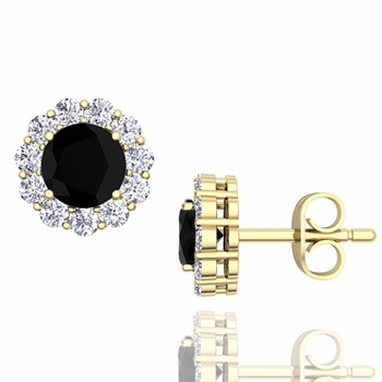 Halo Black and White Diamond Earrings in 18k Gold Studs, 5mm