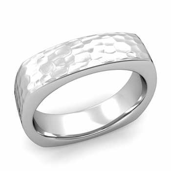 Square Comfort Fit Wedding Ring in Platinum Matte Hammered Band, 6mm