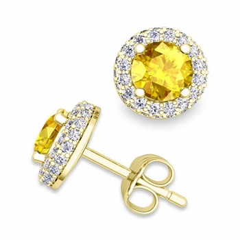 Pave Diamond and Yellow Sapphire Earrings in 18k Gold Studs, 5mm