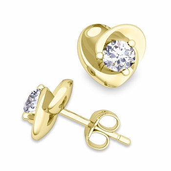 Petal Heart Diamond Stud Earrings in 18k Gold, 4x4mm