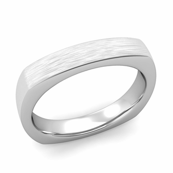 Square Comfort Fit Wedding Ring in Platinum Matte Brushed Band, 4mm