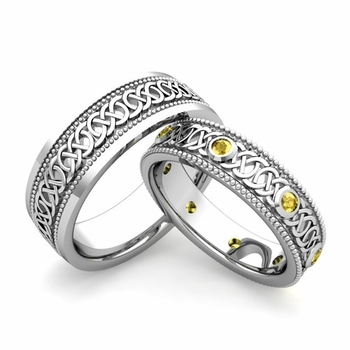 Matching Celtic Wedding Bands in 14k Gold Milgrain Yellow Sapphire Ring