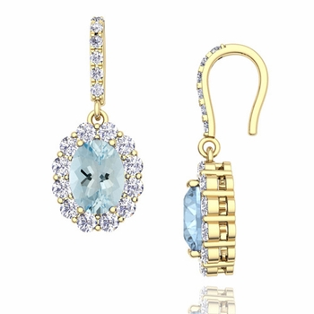 Halo Diamond and Aquamarine Drop Earrings in 18k Gold, 7x5mm
