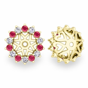Ruby and Halo Diamond Earring Jackets in 18k Gold, 6mm