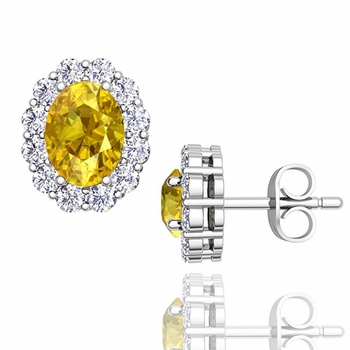 Oval Yellow Sapphire and Halo Diamond Earrings in 14k Gold, 7x5mm Studs
