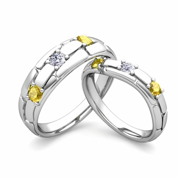 Matching Wedding Band: His and Hers Diamond Yellow Sapphire Ring in Platinum