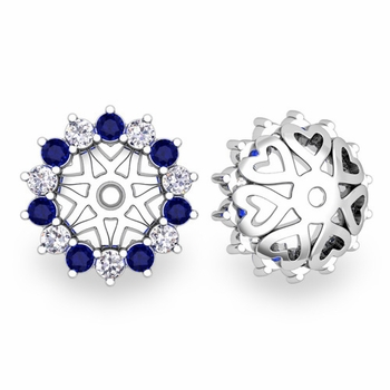 Sapphire and Halo Diamond Earring Jackets in 14k Gold, 6mm