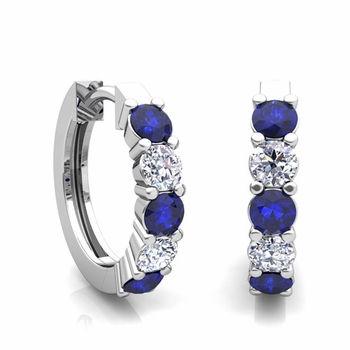 5 Stone Sapphire and Diamond Hoop Earrings in 14k Gold Hoops
