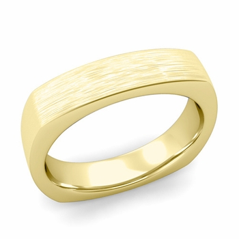 Square Comfort Fit Wedding Ring in 18K Gold Matte Brushed Band, 5mm