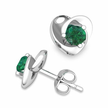 Petal Heart Emerald Stud Earrings in 14k Gold, 4x4mm