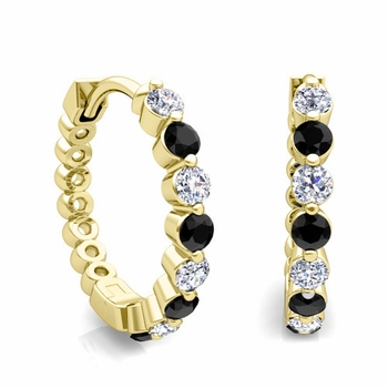 Floating Black and White Diamond Hoop Earrings in 18k Gold Hoops