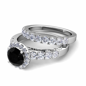Halo Bridal Set: Pave Black and White Diamond Engagement Wedding Ring in Platinum, 7mm