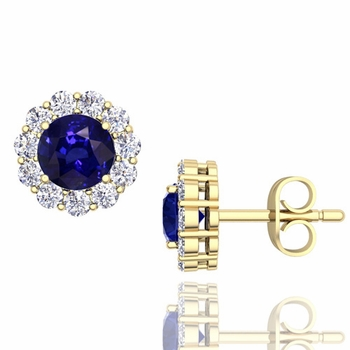 Halo Diamond and Sapphire Earrings in 18k Gold Studs, 5mm