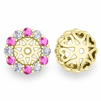 Halo Diamond and Pink Sapphire Earring Jackets in 18k Gold, 6mm