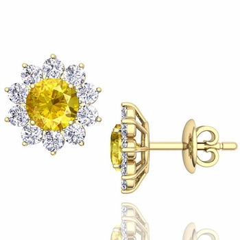 Yellow Sapphire and Diamond Halo Earrings in 18k Gold Studs, 5mm