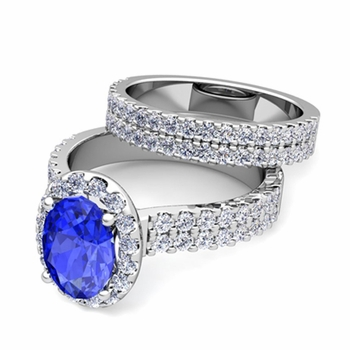 Two Row Diamond and Ceylon Sapphire Engagement Ring Bridal Set in 14k Gold, 9x7mm