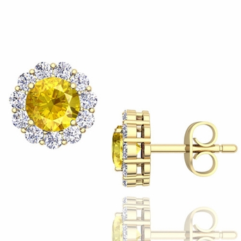 Halo Diamond and Yellow Sapphire Earrings in 18k Gold Studs, 5mm