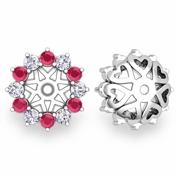 Ruby and Halo Diamond Earring Jackets in 14k Gold, 5mm