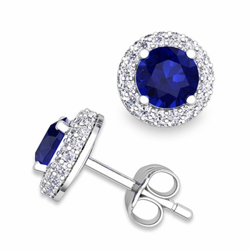 Pave Diamond and Sapphire Earrings in 14k Gold Studs, 5mm
