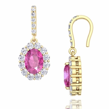 Halo Diamond and Pink Sapphire Drop Earrings in 18k Gold, 7x5mm