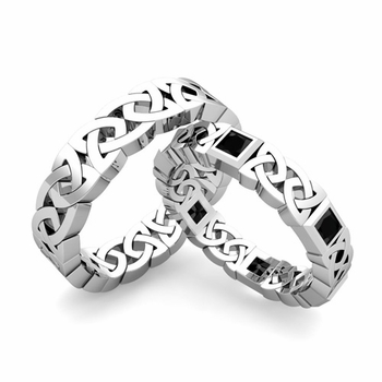 Matching Celtic Wedding Bands in Platinum Princess Cut Black Diamond Eternity Ring