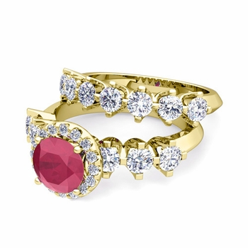 Bridal Set of Crown Set Diamond and Ruby Engagement Wedding Ring in 18k Gold, 6mm