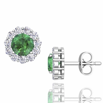 Halo Diamond and Emerald Earrings in 14k Gold Studs, 5mm