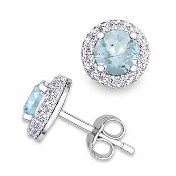 Pave Diamond and Aquamarine Earrings in 14k Gold Studs, 5mm
