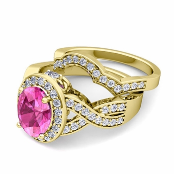 Infinity Diamond and Pink Sapphire Engagement Ring Bridal Set in 18k Gold, 7x5mm