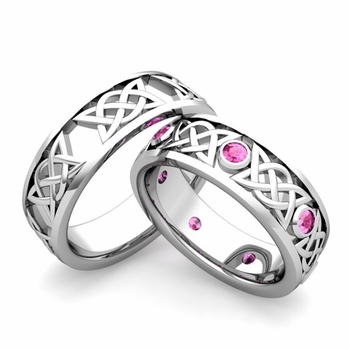 Matching Celtic Wedding Bands in Platinum Pink Sapphire Comfort Fit Ring