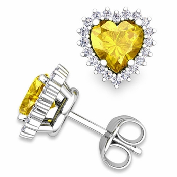 Diamond and Yellow Sapphire Earrings in 14k Gold Heart Earring Studs, 5x5mm
