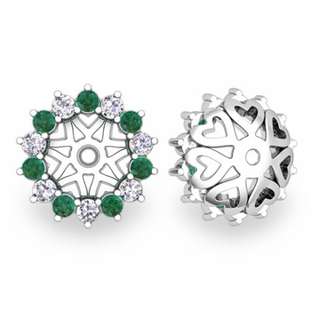 Emerald and Halo Diamond Earring Jackets in 14k Gold, 6mm