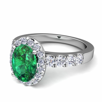 Brilliant Pave Set Diamond and Emerald Halo Engagement Ring in Platinum, 7x5mm