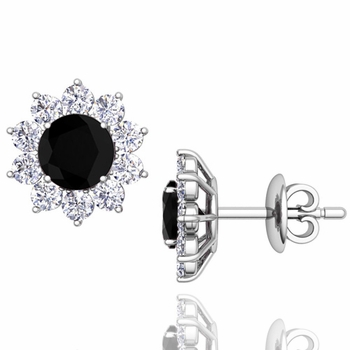 Black and White Diamond Halo Earrings in 14k Gold Studs, 5mm