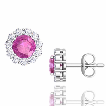 Halo Diamond and Pink Sapphire Earrings in 14k Gold Studs, 5mm