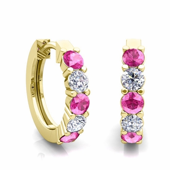 5 Stone Pink Sapphire and Diamond Hoop Earrings in 18k Gold Hoops
