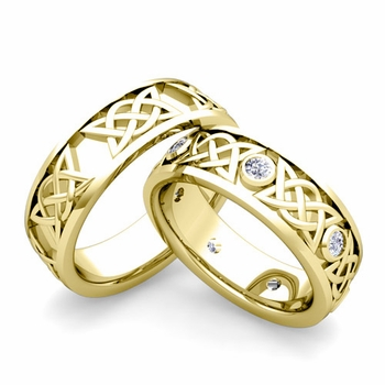 Matching Celtic Wedding Bands in 18k Gold Diamond Comfort Fit Ring