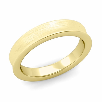 Contour Wedding Band in 18k Gold Brushed Comfort Fit Ring, 4mm