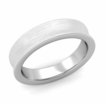 Contour Wedding Band in 14k Gold Brushed Comfort Fit Ring, 5mm