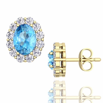 Oval Blue Topaz and Halo Diamond Earrings in 18k Gold, 7x5mm Studs