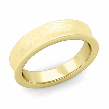 Contour Wedding Band in 18k Gold Brushed Comfort Fit Ring, 5mm