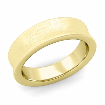 Contour Wedding Band in 18k Gold Brushed Comfort Fit Ring, 6mm
