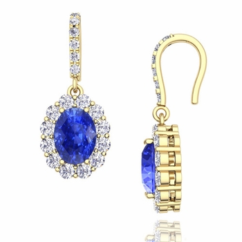 Halo Diamond and Ceylon Sapphire Drop Earrings in 18k Gold, 7x5mm