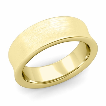 Contour Wedding Band in 18k Gold Brushed Comfort Fit Ring, 7mm