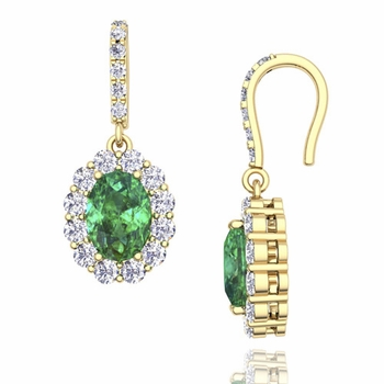 Halo Diamond and Emerald Drop Earrings in 18k Gold, 7x5mm